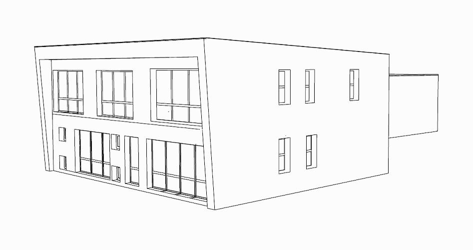 Neubau eines Bürogebäudes inklusive Inneneinrichtung, Ansicht