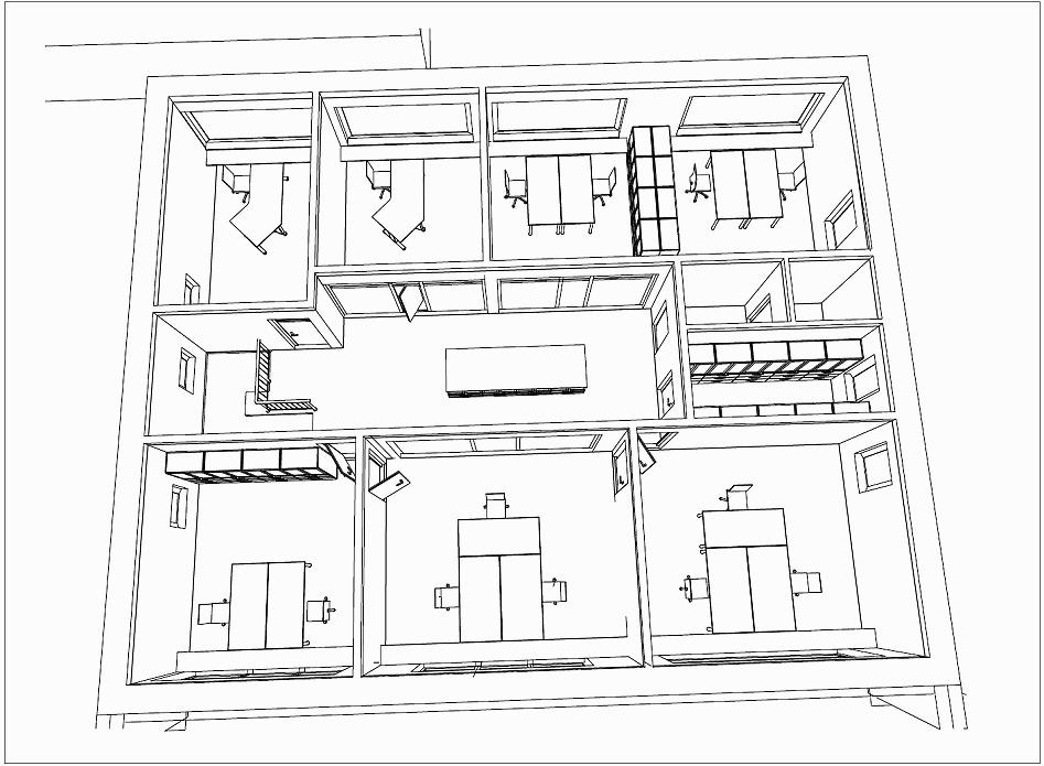 Neubau eines Bürogebäudes inklusive Inneneinrichtung, Grundriss
