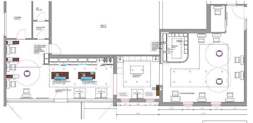Modernisierung und Umbau eines Friseursalons, Grundriss