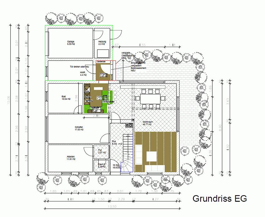 Sanierung Wohnhaus Grundriss Eg