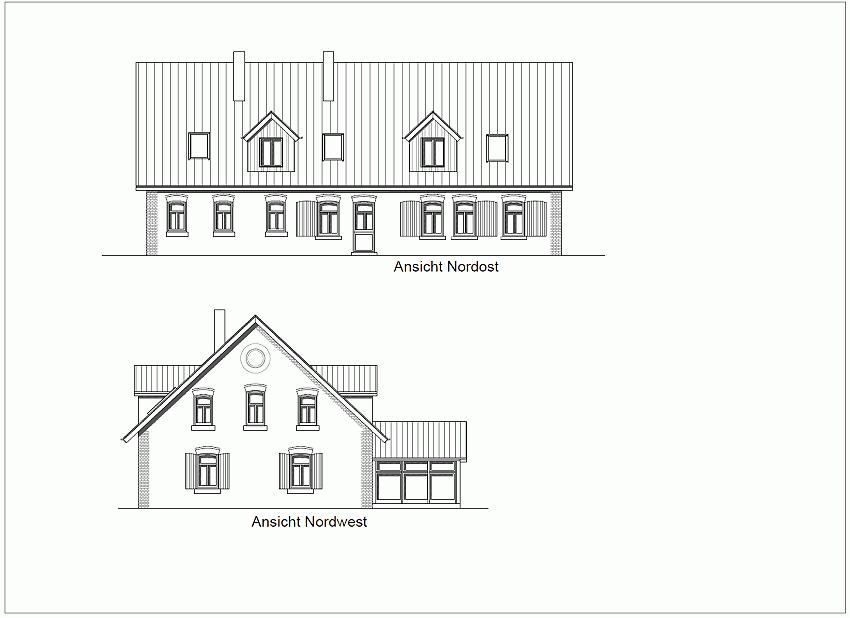 Ersatzneubau für ein ehemaliges Wohnwirtschaftshaus, Ansichten