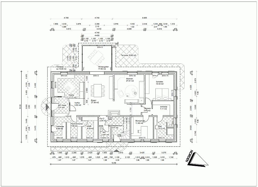 Ersatzneubau für ein ehemaliges Wohnwirtschaftshaus, Grundriss EG