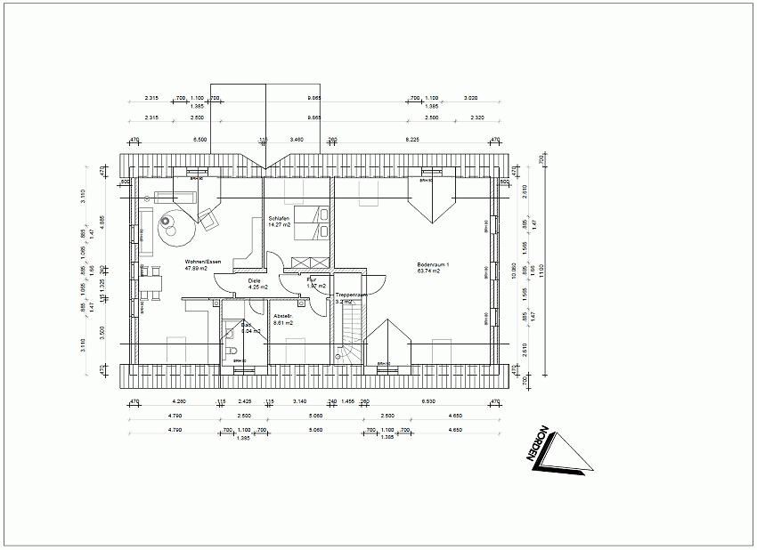 Ersatzneubau für ein ehemaliges Wohnwirtschaftshaus, Grundriss OG
